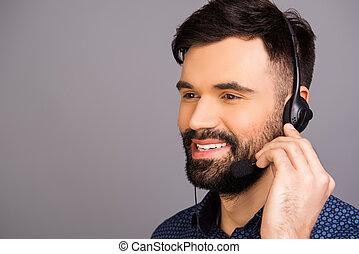 head-phones, porträt, berühren, mikrophon, mann, heiter