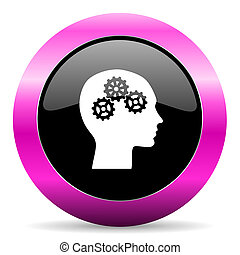 head pink glossy icon - web glossy pushbutton