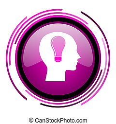 Head pink glossy web icon isolated on white background
