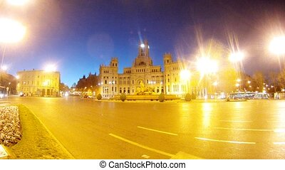 Head post stands on Plaza de Cibeles at morning, time lapse
