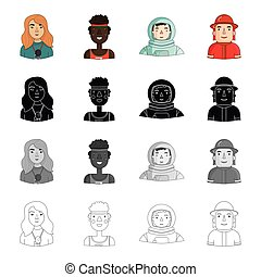 Head, profession, hobbies and other web icon in cartoon style. Special, overalls, fireman icons in set collection.