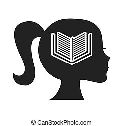 head profile human with education icon