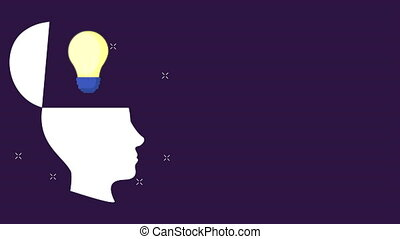 head profile with bulb light idea