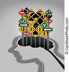 Head Question Mark - Head question mark concept as a road...