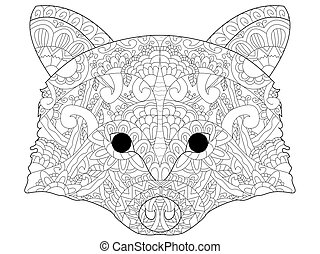 Head raccoon vector antistress coloring for adults