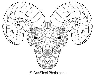 Head ram coloring vector for adults - Head ram coloring book...