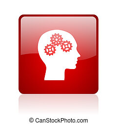 head red square glossy web icon on white background