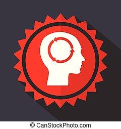 Head red sticker flat design vector icon - Head red vector...