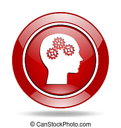 head red web glossy round icon