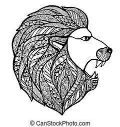 Head roaring lion style zentangle. Vector illustration.