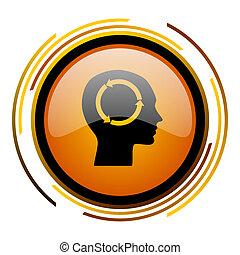 head round design orange glossy web icon