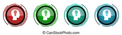 Head round glossy vector icons, set of buttons for webdesign, internet and mobile phone applications in four colors options isolated on white background