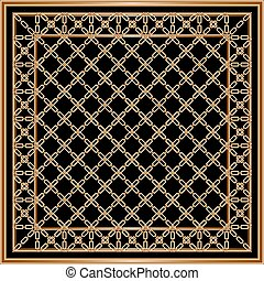 Head scarf golden chains pattern on black background with border