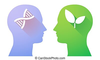 Head set with a DNA sign and a plant