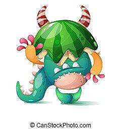 head., seu, melancia, monstro