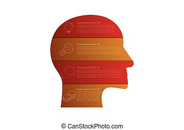 Head shaped business infographics with 4 steps in origami style in red and orange or gold colors. Four steps timeline infographic isolated on white background with outline icons.