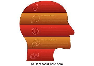 Head shaped business infographics with 5 steps in origami style in red and orange or gold colors. Five steps timeline infographic isolated on white background with outline icons.