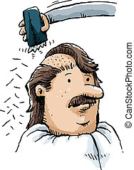 Head Shaving - A cartoon man has his head shaved with...