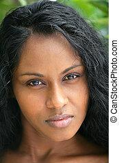 head-shot, av, afrikansk kvinna