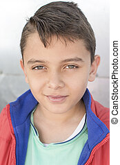 Head shot handsome child of mixed ethnicity