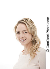 head shot of a blonde woman on a white background