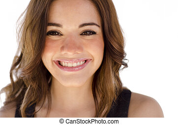 Head shot of a cute young woman