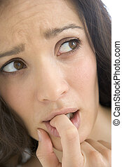 Head shot of worried woman
