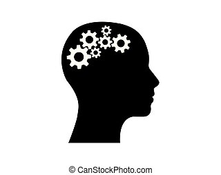 head side view with gears inside thinking vector illustration.
