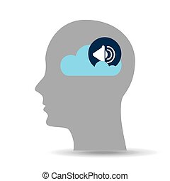 head silhouette cloud speaker music