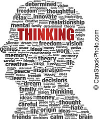 Head silhouette illustration with the word thinking.