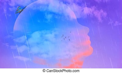Head silhouette in the sky. Flock of birds