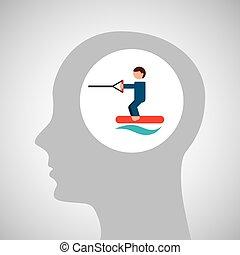 head silhouette kiteboarding extreme sport vector...