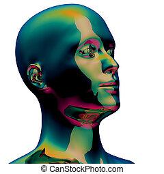 Head silhouette man stylized portret metallic polished green