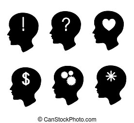 Head silhouette on a white background.