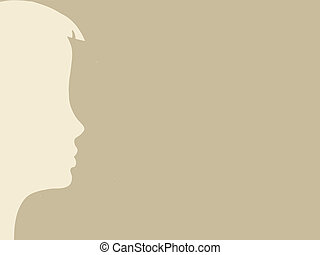 head silhouette on brown background, vector illustration