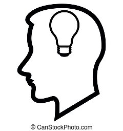 Head silhouette with a lightbulb icon