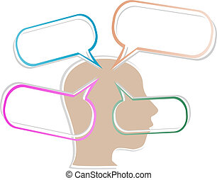 head silhouette with abstract speech bubble