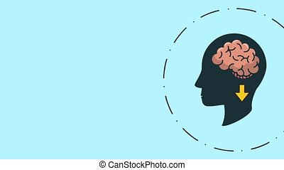 Head silhouette with brain inside HD animation