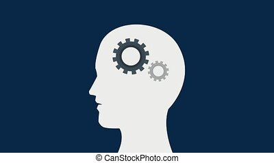 Head silhouette with gears working inside HD animation