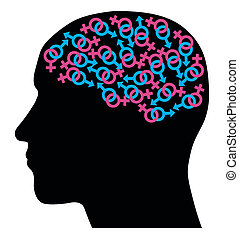 Head silhouette with interlinked male and female symbols. Concept. Vector illustration