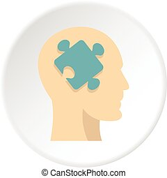 Head silhouette with jigsaw puzzle icon circle