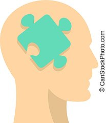 Head silhouette with jigsaw puzzle icon isolated