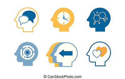 Head silhouettes with ideas in their heads, human thoughts and emotions, side view vector Illustration