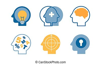 Head silhouettes with ideas in their heads set, human thoughts and emotions, side view vector Illustration