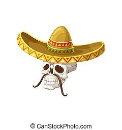 Head skeleton skull with mustaches in sombrero hat