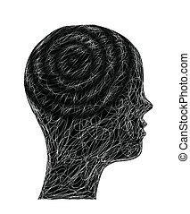 head., sketchy, vector, illustratie