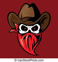 head skull cowboy hat vector illustrations logo