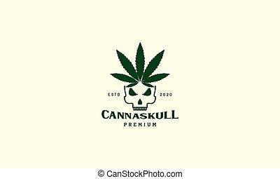 head skull line with cannabis leaf  logo vector icon design illustration