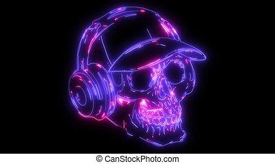 Head skull with ear phone video