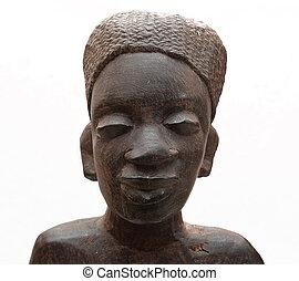 head., souvenir., mujer, wood., africano